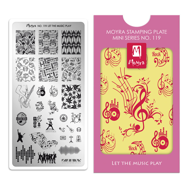 Let the Music Play, Moyra Mini Stamping Plate 119. Available at www.lanternandwren.com.