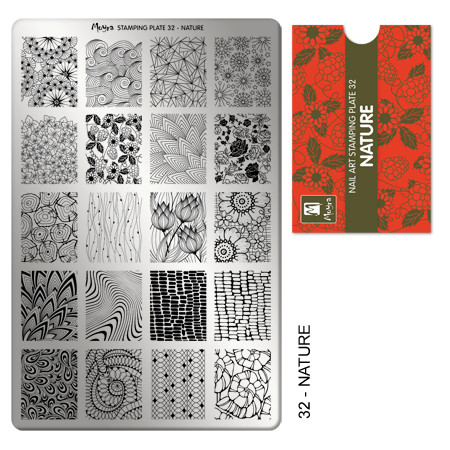 Moyra 32, Nature nail stamping plate. Available at www.lanternandwren.com.