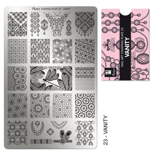 Moyra Vanity stamping plate, #23. Available at www.lanternandwren.com.