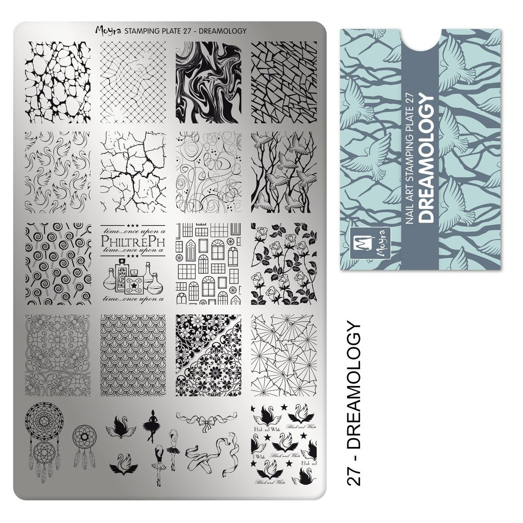 Moyra Dreamology stamping plate, #27. Available at www.lanternandwren.com.