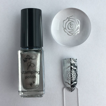 Clear Jelly Stamper nail stamping polish, #45 Molten Alloy. Available at www.lanternandwren.com.