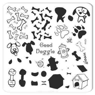 Clear Jelly Stamper Woof dog nail stamping plate, available at www.lanternandwren.com.