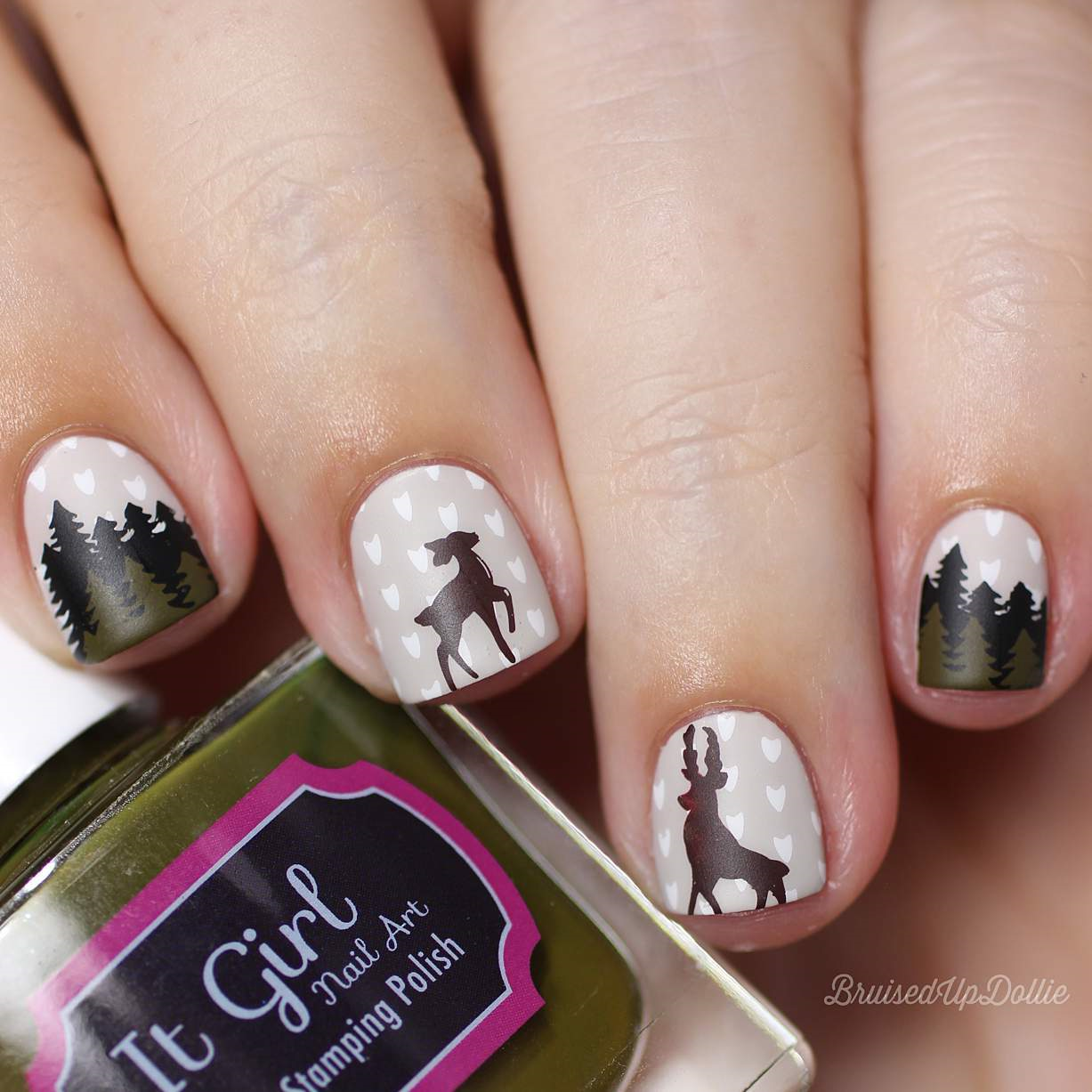 Woodland Chic nail art stamping plate by Uber Chic. Available at www.lanternandwren.com.
