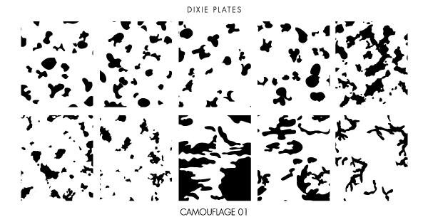 Dixie Plates Camouflage mini stamping plate. Available in the USA at www.lanternandwren.com.