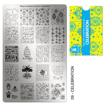 Moyra Celebration nail stamping plate, #09. Available at www.lanternandwren.com.