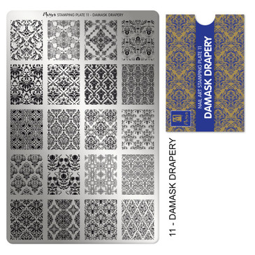 Moyra Damask Drapery stamping plate, #11. Available at www.lanternandwren.com.
