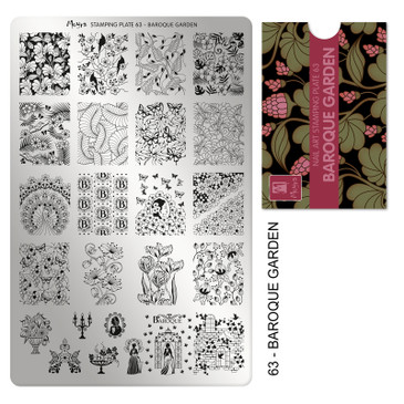 Moyra Baroque Garden stamping plate, #63. Available at www.lanternandwren.com.