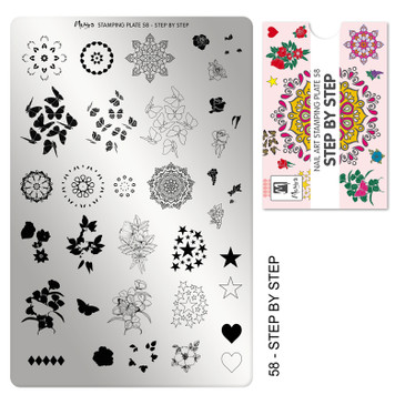Moyra Step by Step stamping plate, #58. Available at www.lanternandwren.com.