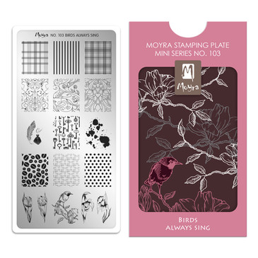 Birds Always Sing, Moyra Mini Stamping Plate 103. Available at www.lanternandwren.com.