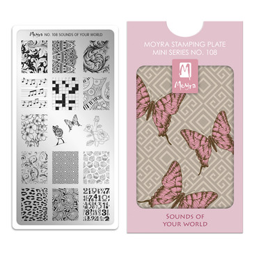Sounds of Your World, Moyra Mini Stamping Plate 108. Available at www.lanternandwren.com.