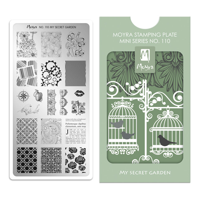 My Secret Garden, Moyra Mini Stamping Plate 110. Available at www.lanternandwren.com.