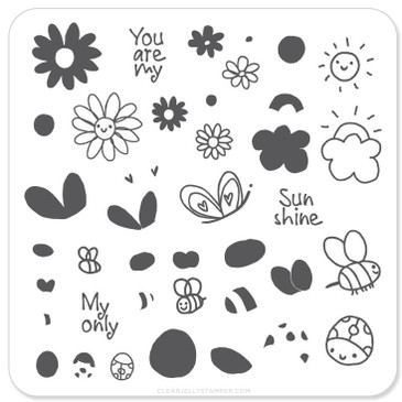 Clear Jelly Stamper Sunshine nail stamping plate, available at www.lanternandwren.com.