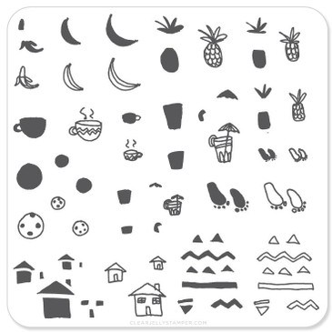 Summer Drinks and Fruits Doodle (CjS-20) Mini Nail Stamping Plate, available at www.lanternandwren.com.