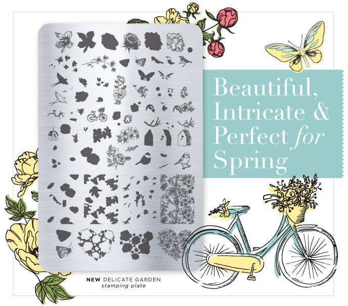 Delicate Garden nail stamping plate by Clear Jelly Stamper, available at www.lanternandwren.com.