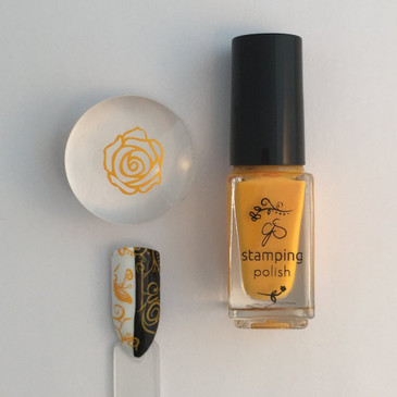 Clear Jelly Stamper yellow stamping polish #14, Peachy Keen Jelly Bean, available at www.lanternandwren.com.