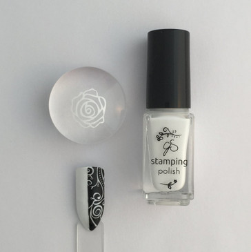 Clear Jelly Stamper white stamping polish Jennys Gonna Love it, available at www.lanternandwren.com.
