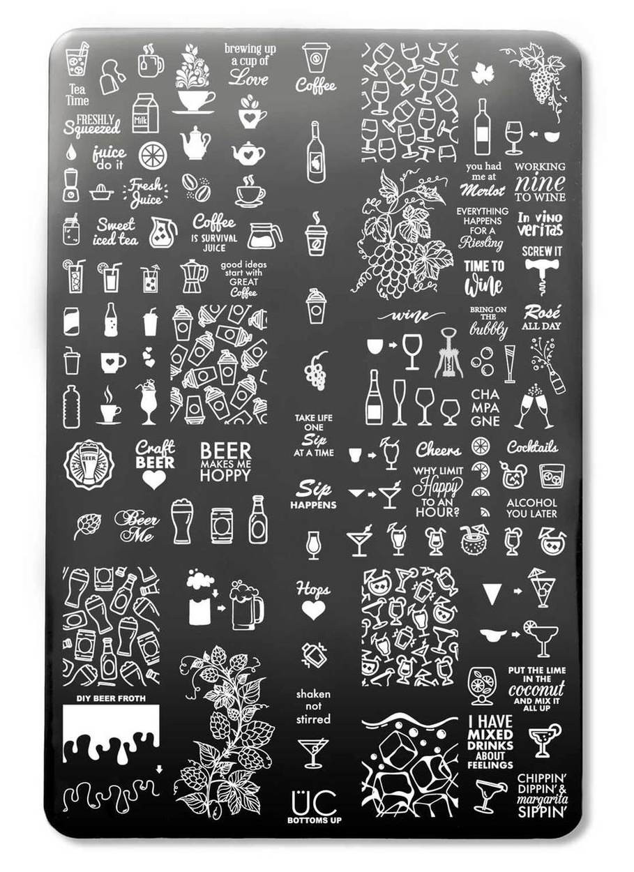 Bottoms Up nail art stamping plate by Uber Chic