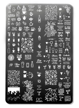 Bottoms Up nail art stamping plate by Uber Chic. Available at www.lanternandwren.com.