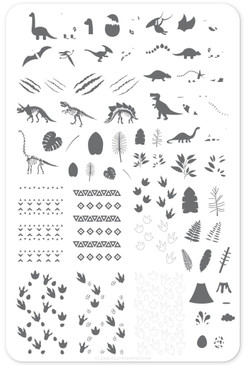 Dino (CjS LC-35)  nail stamping plate by Clear Jelly Stamper, available at www.lanternandwren.com.