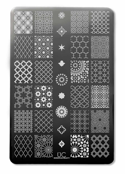 Uber Chic Moroccan Delight nail stamping plate, available at www.lanternandwren.com.