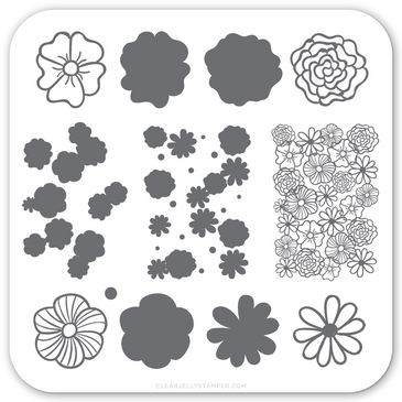 Little Flowers (CJS-66) - Mini Nail Stamping Plate