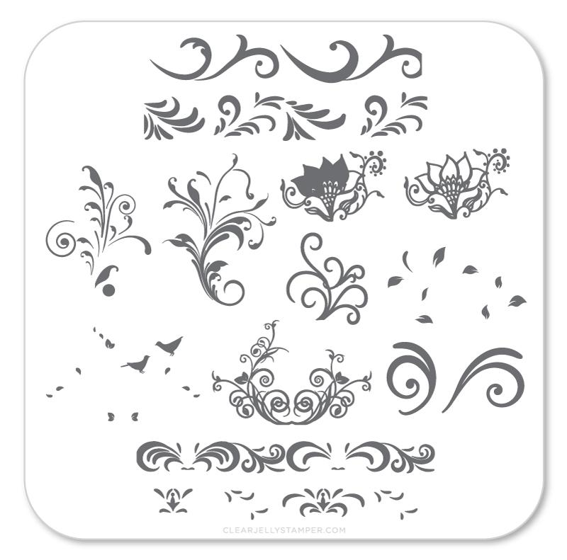 Clear Jelly Stamper Petit Swirls mini nail stamping plate, available in the USA at www.lanternandwren.com.