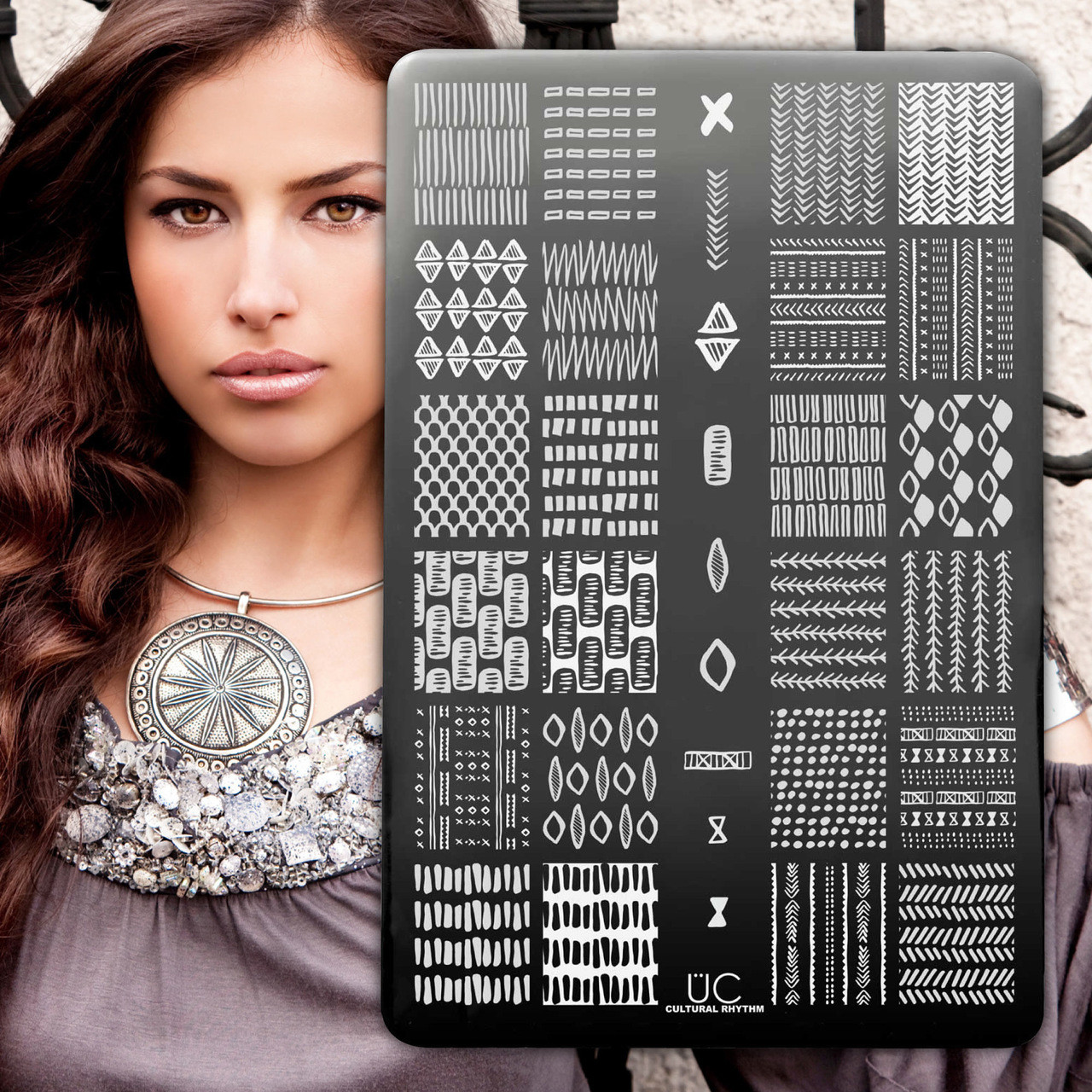 Uber Chic Cultural Rhythm nail stamping plate, available at www.lanternandwren.com.