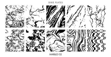 Dixie Plates Marbled 02 mini stamping plate. Available in the USA at www.lanternandwren.com.