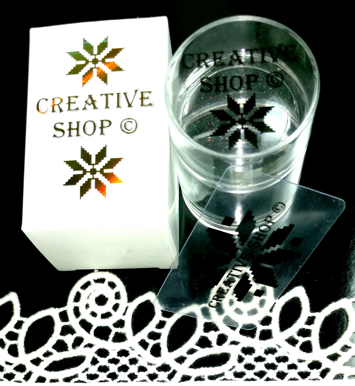 Creative Shop holographic clear jelly nail stamper with extra stamping head. Available at www.lanternandwren.com.