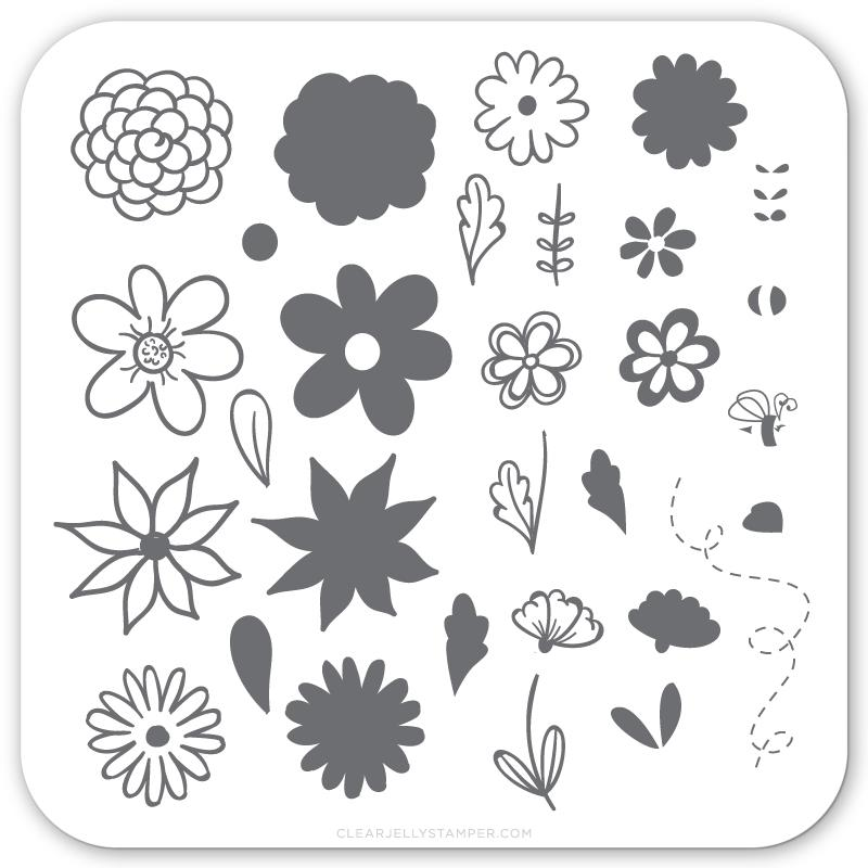 Clear Jelly Stamper nail stamping plate, available in the USA at www.lanternandwren.com.