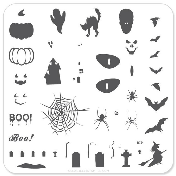 Clear Jelly Stamper Halloween nail stamping plate, available in the USA at www.lanternandwren.com.