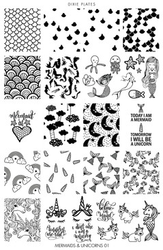 Dixie Plates Mermaids & Unicorns nail stamping plate. Available at www.lanternandwren.com.