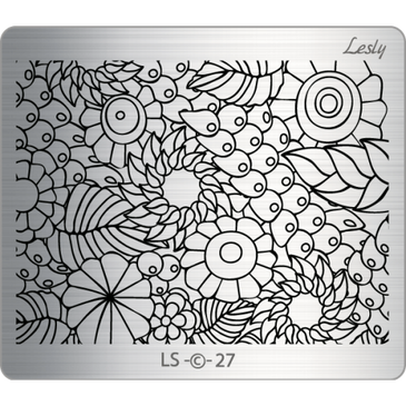Lesly LS-27 medium nail stamping plate. Available at www.lanternandwren.com.