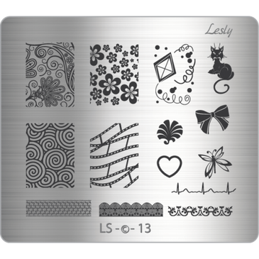 Lesly LS-13 medium nail stamping plate. Available at www.lanternandwren.com.