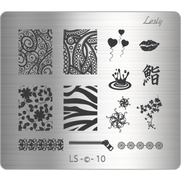 Lesly LS-10 medium nail stamping plate. Available at www.lanternandwren.com.