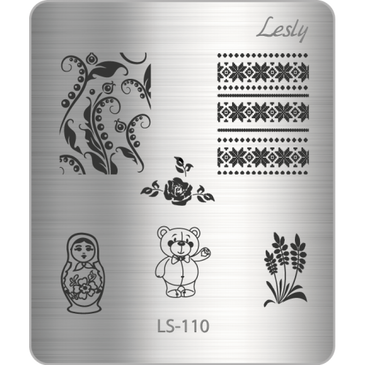 Lesly LS-110 mini nail stamping plate. Available at www.lanternandwren.com.