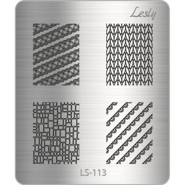 Lesly LS-113 mini nail stamping plate. Available at www.lanternandwren.com.