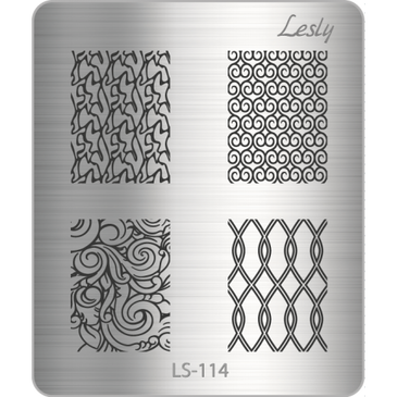 Lesly LS-114 mini nail stamping plate. Available at www.lanternandwren.com.