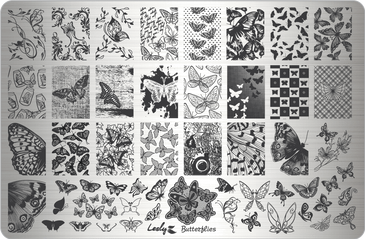 Lesly Butterflies nail stamping plate. Available at www.lanternandwren.com.