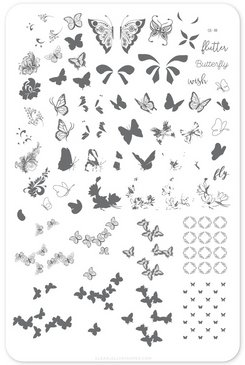 Clear Jelly Stamper Butterfly Wishes (CjS-80) nail stamping plate. Available in the USA at www.lanternandwren.com.