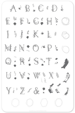 Clear Jelly Stamper Garden Letters (CjS-83) Nail Stamping Plate. Available in the USA at www.lanternandwren.com.