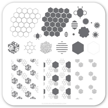 Buzz-y (CjS-73) nail stamping plate by Clear Jelly Stamper, available at www.lanternandwren.com.
