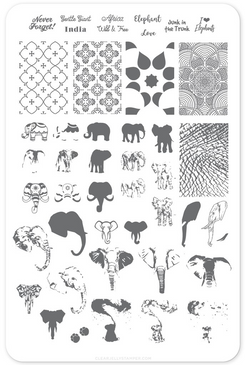 Everything Elephant (CjS LC-44) nail stamping plate. Available in the USA at www.lanternandwren.com.