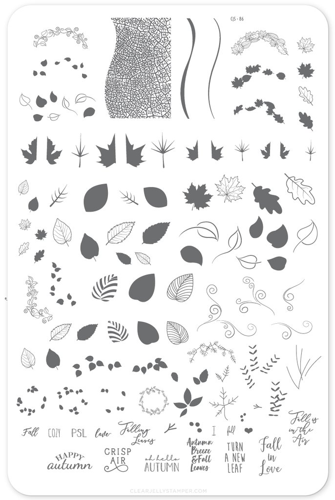 Forever Autumn (CjS-86) Nail Stamping Plate. Available in the USA at www.lanternandwren.com.