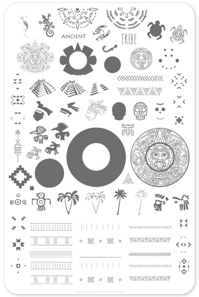Ancient Tribal nail stamping plate by Clear Jelly Stamper, available at www.lanternandwren.com.