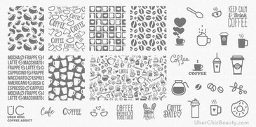Coffee Addict - Uber Mini Nail Stamp Plate
