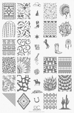 Wild West - 01 - UberChic Beauty Nail Stamping Plate