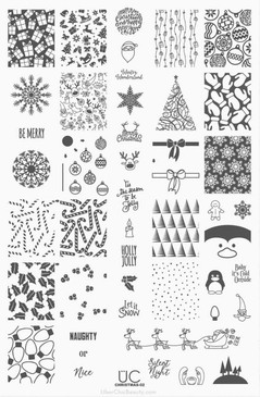 Uber Chic Holly Jolly, Christmas nail stamping plate.  Available in the USA at www.lanternandwren.com.