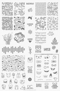 Geek Love 01 - UberChic Nail Stamping Plate