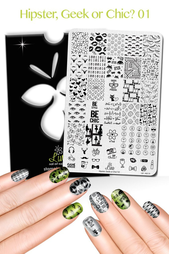 Hipster, Chic or Geek! 01 Nail Stamping Plate